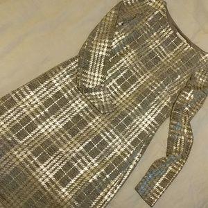 Eliza J Gold Plaid Long Sleeve Dress